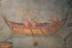 Fresco depicting a boat attended by naked characters and decorated as the gala boats which went along the tiber on festival days, 2nd quarter of 2nd century AD, Palazzo Massimo | Flickr - Photo Sharing!