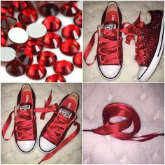 All Star Red Converse With Siam Red Crystals & Red Ribbon Lace Combo, All around coverage, Gorgeous sparkly crystals with Swarovski crystals elements unbelievab Red And White Converse, Red Converse, Converse Style, Converse Trainers, Galaxy Converse, Rhinestone Shoes, Bling Shoes, Prom Shoes, Bling Bling