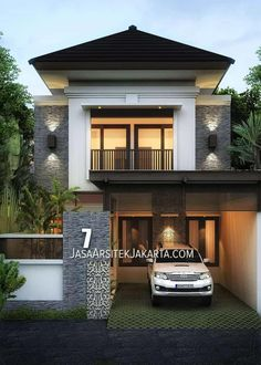 Desain-Rumah-Pak-Sholla—JasaArsitekJakarta-WM-min Any individual can generate a home sweet home, even when the spending budget is tight. 2 Storey House Design, House Front Design, Modern House Design, Villa Design, Style At Home, Casa Mix, Asian House, 3d Home, House Elevation
