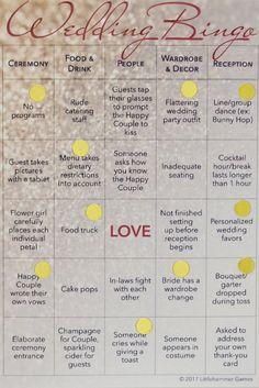 Wedding Bingo: Wedding reception game for entertaining 10 guests. LGBT wedding version for 2 brides.