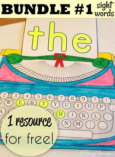 Grab this Sight Words Interactive Notebook BUNDLE and get 1 resource for FREE! Use these cute typing machines to practice FRY sight words (first hundred) with your kiddos! Sight Word Activities, Literacy Activities, Teaching Resources, Teaching Ideas, New Teachers, Kindergarten Teachers, Kindergarten Writing, Interactive Student Notebooks, Creative Teaching