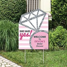 Shop Bride-to-Be - Bridal Shower Party Decorations - Classy Bachelorette Welcome Yard Sign - up to off, discover more Children's Bridal Shower Party Supplies enjoy big discount and fast shipping. Bridal Shower Party, Bridal Shower Decorations, Bridal Showers, Classy Bachelorette Party, Bachlorette Party, Big Dot Of Happiness, Party Signs, Wedding Day, Wedding Decor