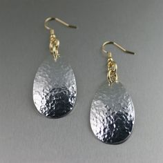 Aluminum Hammered Tear Drop Earrings by johnsbrana on Etsy, $30.00