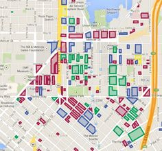 Developing map - South Lake Union<br /> Color Theming: Red = Developable, Green = In Design/Planning, Blue = Under Construction, and Yellow = Completed