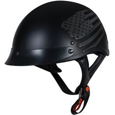 TORC T55.2 LowDown Half Helmet with 'Black Flag' Graphic (Flat Black, Large)