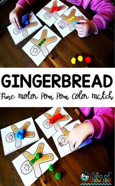 Gingerbread Color Match Pompoms. This FREE fun fine motor gingerbread men activity cards will get the kids to color match the pom poms to the buttons on the gingerbread card. #colormatch