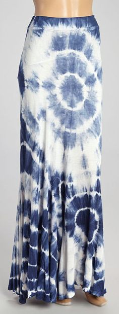 Navy and White Tie Dye Maxi Skirt