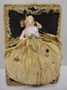 ART NOUVEAU BISQUE PORCELAIN HALF DOLL VICTORIAN LADY WALL POCKET PIN CUSHION NR