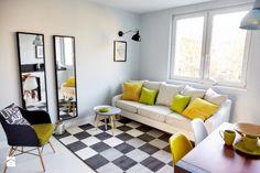 O amenajare de apartament mic care ne inspira- Inspiratie in amenajarea casei - www.povesteacasei.ro Contemporary, Rugs, Interior, Furniture, Toque, Design, Home Decor, Colors, Farmhouse Rugs