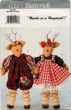 Uncut '95 REINDEER DOLLS PATTERN // Christmas by graymountaingoods, $6.00