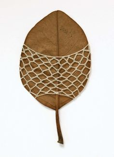 Amazing Natural #Crochet #Art from Susanna Bauer who crochets around leaves, driftwood and more