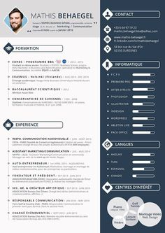 Creative Cv Template, Resume Design Template, Student Resume Template, Modern Resume Template, Cv Ingenieur, Cv Templates Free Download, Cv Original, Resume Layout, Marketing