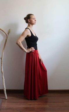Summer Skirts, Gray Skirt, Cotton Skirt, Pencil Dress, Beautiful Outfits, Colours, Boho, Formal Dresses, Red