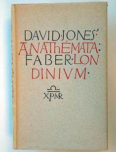 David Jones, Anathémata. London: Faber and Faber, 1952. Jacket by David Jones.