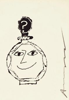 Drawing by Andy Warhol (1928-1987), 1953, Perfume Bottle with Face, ink and pencil on paper.