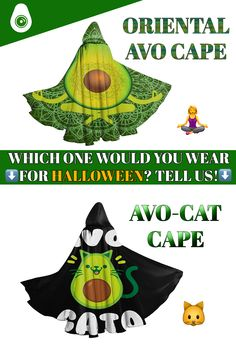 """Specially made for Halloween, these avocado halloween costumes are literally perfect when they are worn during the day of the dead! We need your opinion about these capes, can you tell us which one is your favorite, the """"CAT"""" or the """"ORIENTAL"""" one? If you want to get them, you can check out our large range of Halloween avocado costumes made for all avocado lovers! Frankenstein, Avocado Costume, Capes, Funny, Oriental, Halloween Costumes, Range, Lovers, Check"""