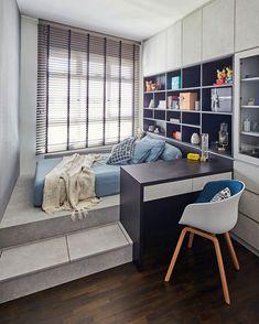 Four Rooms, Small Room Design, Stylish Bedroom, Industrial Chic, Platform Bed, House Tours, Corner Desk, Bedroom Ideas, Bedrooms
