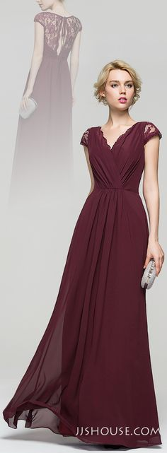 There seems to be nothing special on this A-Line V-neck Floor-Length Chiffon Evening dress, but the overall effect is really amazing! #JJsHouse