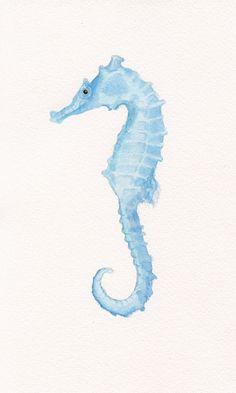Seahorse Original Watercolor Painting 6x10 - Beach Decor - Nautical - Ocean - Sea Life - Marine Decor