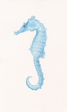 Seahorse Original Watercolor Painting 6x10 - Beach Decor - Nautical - Ocean - Sea Life - Marine Decor