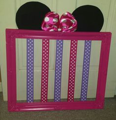 Minnie Mouse Bow Holder Minnie Mouse Room Decor, Minnie Mouse Nursery, Minnie Mouse Bow, Baby Mouse, Toddler Rooms, Girl Room, New Baby Products, Bow Holders, Diy Hair Bow Holder