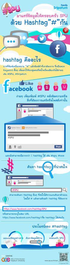 How To Add Hashtag on Facebook | Office Online Education, Sripatum University | Graphic by: Phunpaporn Jatuverapong (พรรณปพร จตุวีรพงษ์) | Visit us at: www.spu.ac.th/ooe