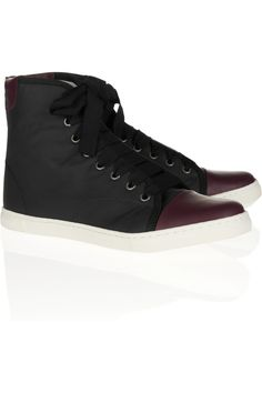 Lanvin|Rubber-effect leather high-top sneakers|NET-A-PORTER.COM