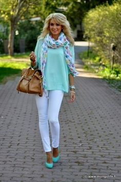 White jeans, turquoise sweater