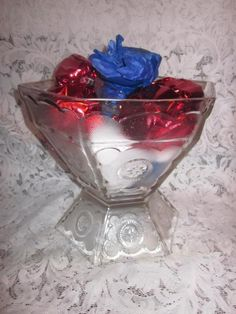 Federal Glass Co Patriotic Hexagon Eagle Punch Bowl Set