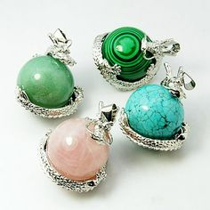 Gemstone Pendants, with Platinum Color Brass Findings, Round, Assorted Gemstone