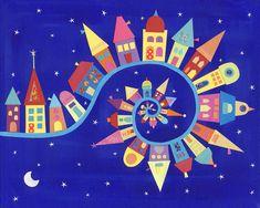 Twisty-Twirly Town - Art Print - 5 x
