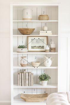 home decor inspiration Shelf Styling 101 - Love Grows Wild Decorating Bookshelves, Styling Bookshelves, Bookshelf Design, Bookcases, Office Bookshelves, Bookshelf Ideas, How To Decorate Bookshelves, How To Decorate Living Room, Home Decorating