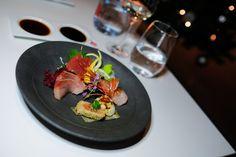 Sashimi dish, part of the Miku Toronto NYE Kaiseki Dinner menu. (Photo: Steven Branco for View the VIBE) Dinner For 2, Dinner Menu, Sashimi, Nye, Toronto, Dishes, Canning, Drinks, Ethnic Recipes