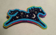 A galaxy horse. Bead Embroidery Jewelry, Beaded Jewelry Patterns, Beaded Embroidery, Beading Patterns, Beading Ideas, Indian Beadwork, Native Beadwork, Native American Beadwork, Beaded Brooch