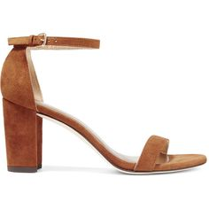 Stuart WeitzmanNearlynude Suede Sandals (675 AUD) ❤ liked on Polyvore featuring shoes, sandals, light brown, light brown shoes, stuart weitzman, stuart weitzman shoes, block heel sandals and suede sandals
