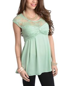 Look at this #zulilyfind! Mint Sheer-Lace Top by Buy in America #zulilyfinds