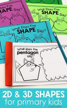 Fun, hands-on ideas for teachers and homeschool parents with lessons and activities for teaching 2D and 3D shapes. Ideal for 1st, 2nd, and 3rd graders to learn about geometry, 2D and 3D shapes and their attributes. Includes a shapes anchor chart that doubles as a game board with a shape fox math craft to get kids writing about math. The What Does the Shape Say? student booklet makes a great math center and is easily differentiated for first, second, and third grade math.