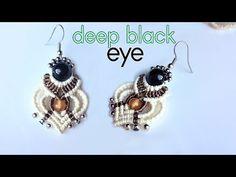 Macrame earring tutorial: The deep black eye - Macrame jewelry set - YouTube