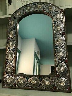 Moroccan Arabic Hand Made Metal Mirror | eBay Moroccan Arabic, Moroccan Mirror, Moroccan Table, Shade Flowers, Metal Mirror, Gold Walls, Jute Rug, Mosaic Glass, Colored Glass