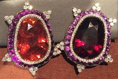 JAR ear clips, 1995, of garnet and tourmaline with amethyst and diamond accents (photo Cathleen McCarthy/The Jewelry Loupe)