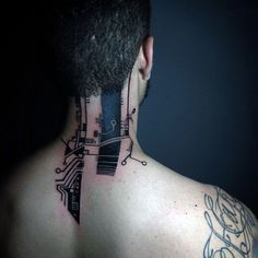 Unique Guys Back Of Neck Circuit Board Tattoos