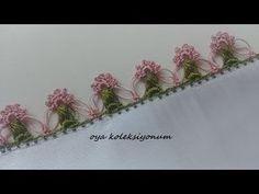 Dondurma Çubuğuyla Yapılan Zarif Oya Modeli - YouTube Crochet Lace Edging, Crochet Flower Tutorial, Crochet Borders, Crochet Flower Patterns, Crochet Poncho, Baby Knitting Patterns, Crochet Doilies, Crochet Flowers, Crochet Backpack Pattern