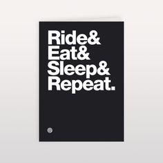 RideEatSleepRepeat 120x170mm - Greeting Card, anthony oram