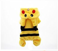 TQIU Pet Costume Dog Clothes Jumpsuits Design as Cartoon Pikachu for Pokemon Go and for Halloween Change Outfit (S)