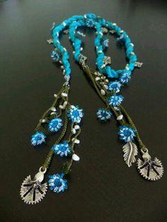 Crochet necklace scarf oya handmade women girl by TurkishDesing Fabric Jewelry, Boho Jewelry, Jewelery, Handmade Jewelry, Jewelry Design, Crochet Beaded Necklace, Boho Necklace, Necklaces, Point Lace