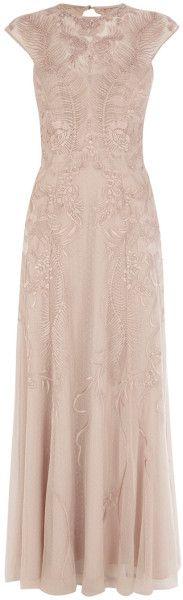 Karen Millen Beige Floral Mesh Maxi Dress