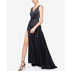 Fame and Partners Draped Maxi Dress With Train Skirt ($282) ❤ liked on Polyvore featuring dresses, black, glamorous dresses, yoke dress, blouson dress, slit dress and satin maxi dress