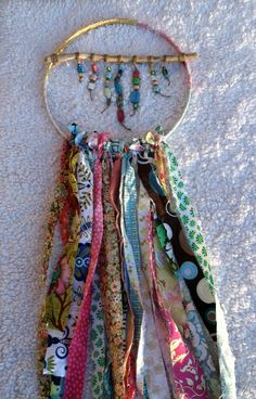 Dream Catcher wall hanging made with fabric and by Bohemianfun