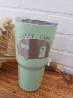 efcdecdd5df Tumbler - Stainless Steel - SIC Cups - Seriously Ice Cold - Laser Engraved  - Happy Camper - Personal
