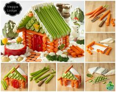 """Veggie Lodge by Green Giant. You need: Six 8"""" carrot logs (1 front, 5 back)   Eight 5"""" carrot logs (lodge sides)   Eight 3"""" carrot logs (front)   Eight 1 1/4"""" logs (by front door)   Four 1 1/2"""" carrot logs (window opening)   Three 7"""" carrot log rafters   Sixteen 6"""" roof celery stalks   Foam core board gable measures 8""""x 6"""" x 6""""   Slice of turnip for window   Toothpicks & cream cheese mortar fasten cucumbers and celery   Bamboo skewers to stack chimney mushroom """"stones"""""""